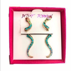 Betsey Johnson Snake Earrings Gold, Blue, Green